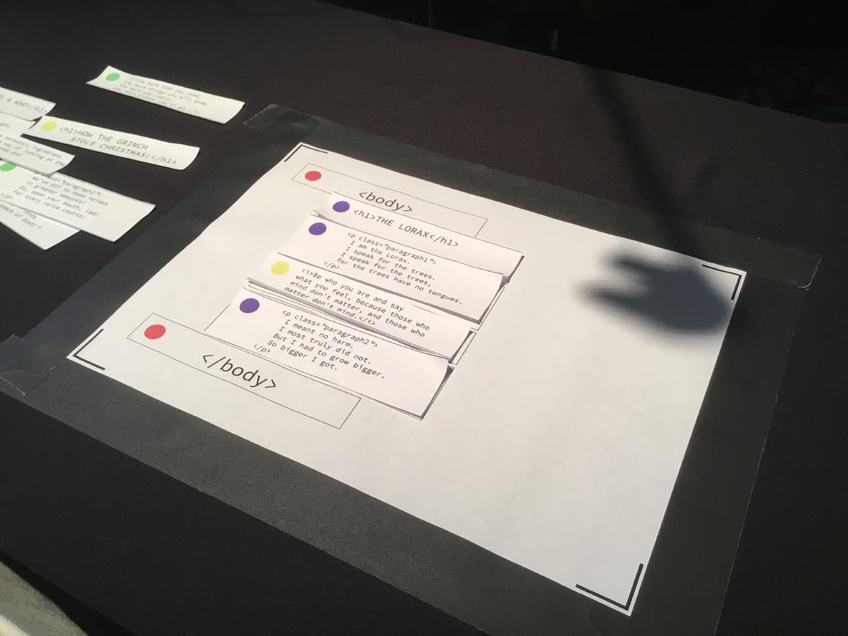 Paper Prototype of Tangible HTML at the mid-year showcase